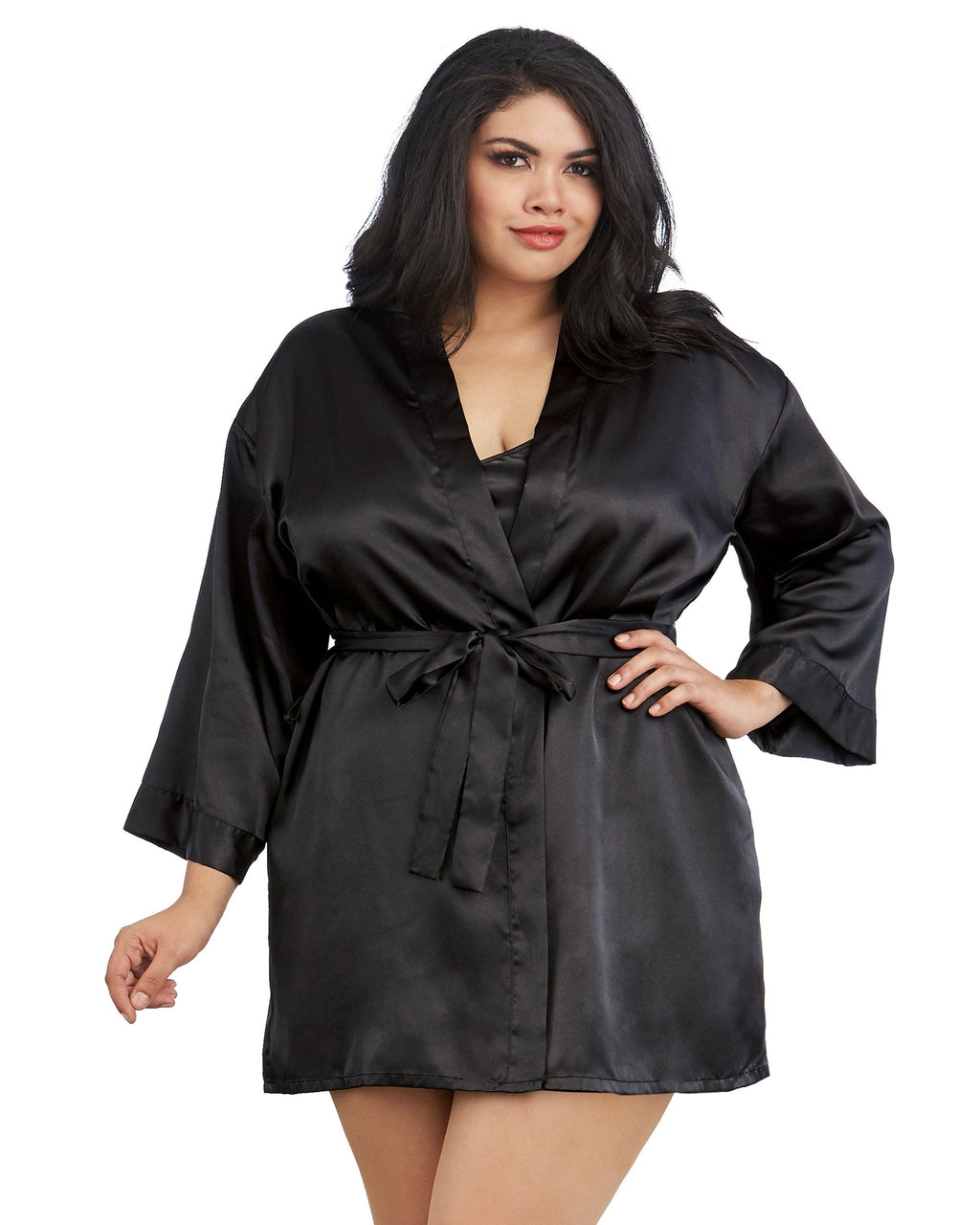 Plus Size Satin Robe & Chemise Set Robe Dreamgirl International 1X/2X Black