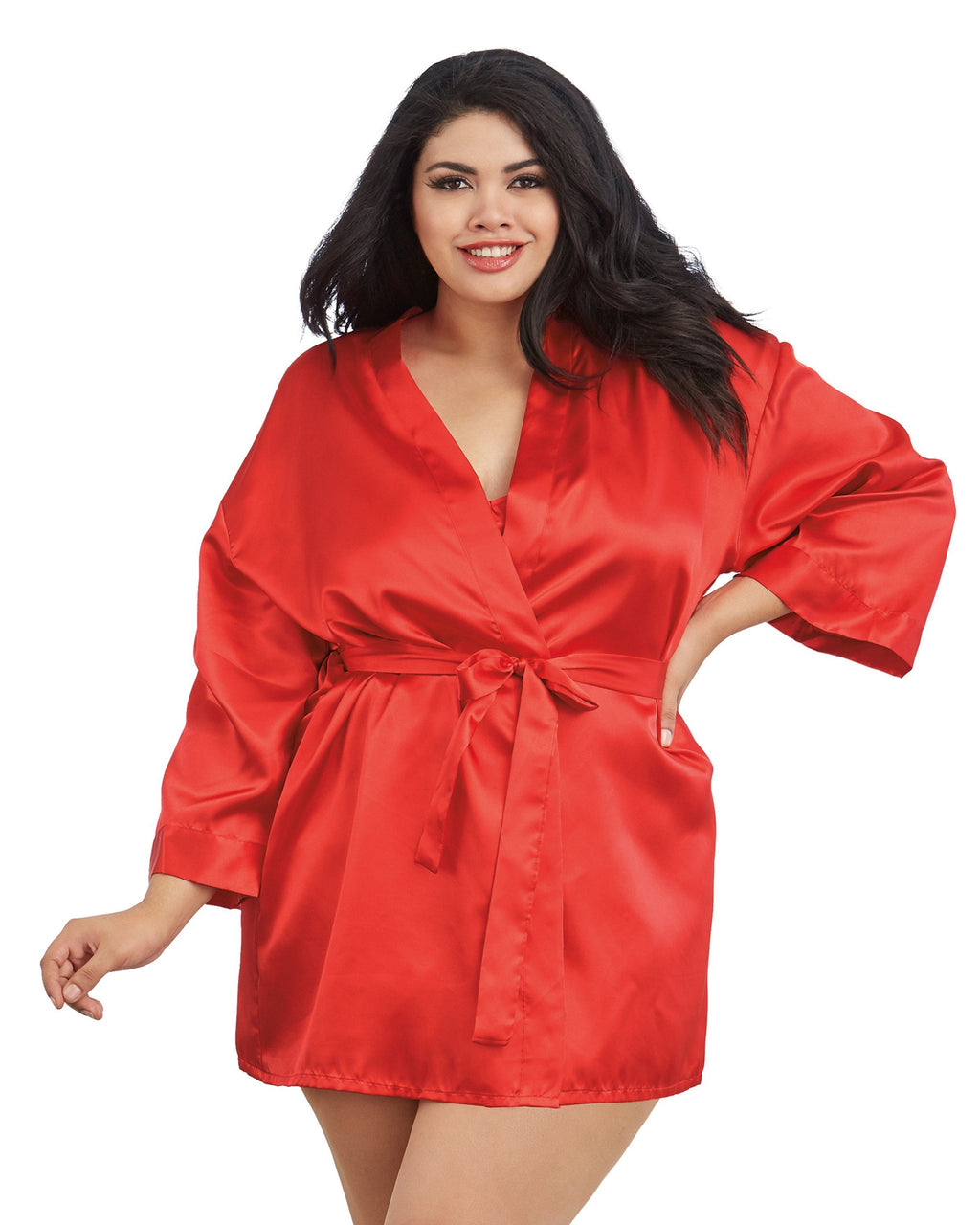 Plus Size Satin Robe & Chemise Set Robe Dreamgirl International 1X/2X Red