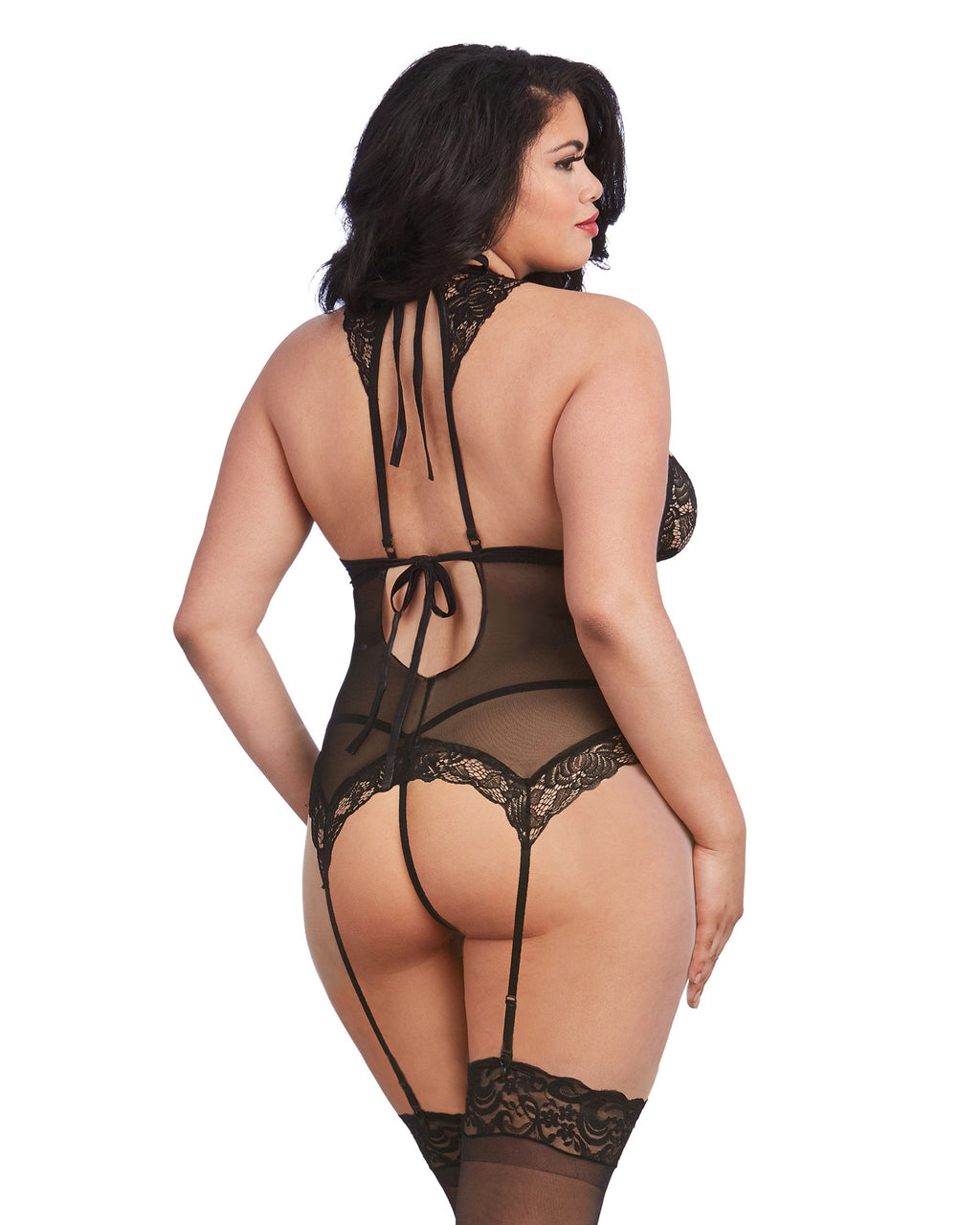 Plus Size Scalloped Bustier-Styled Strappy Garter Lingerie Bustier Dreamgirl International