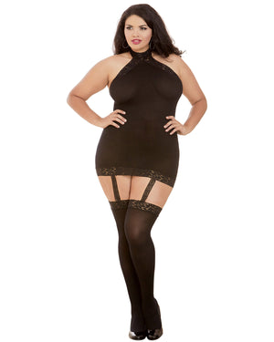 Plus Size Sheer Garter Bodystocking with Thigh High Garter Dress Dreamgirl International One Size Queen Black