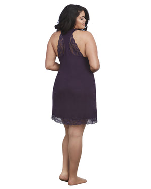Plus Size Soft Knit Jersey Sleepwear Chemise with Scoop Neckline Sleepwear Chemise Dreamgirl International