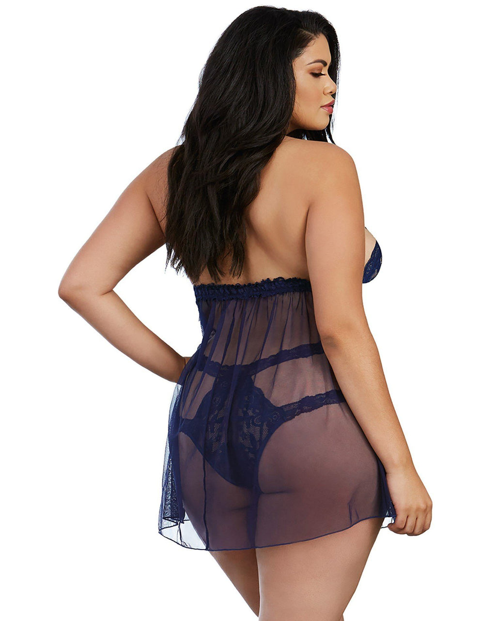 Plus Size Stretch Lace and Mesh Babydoll with Matching Panty Babydoll Dreamgirl International