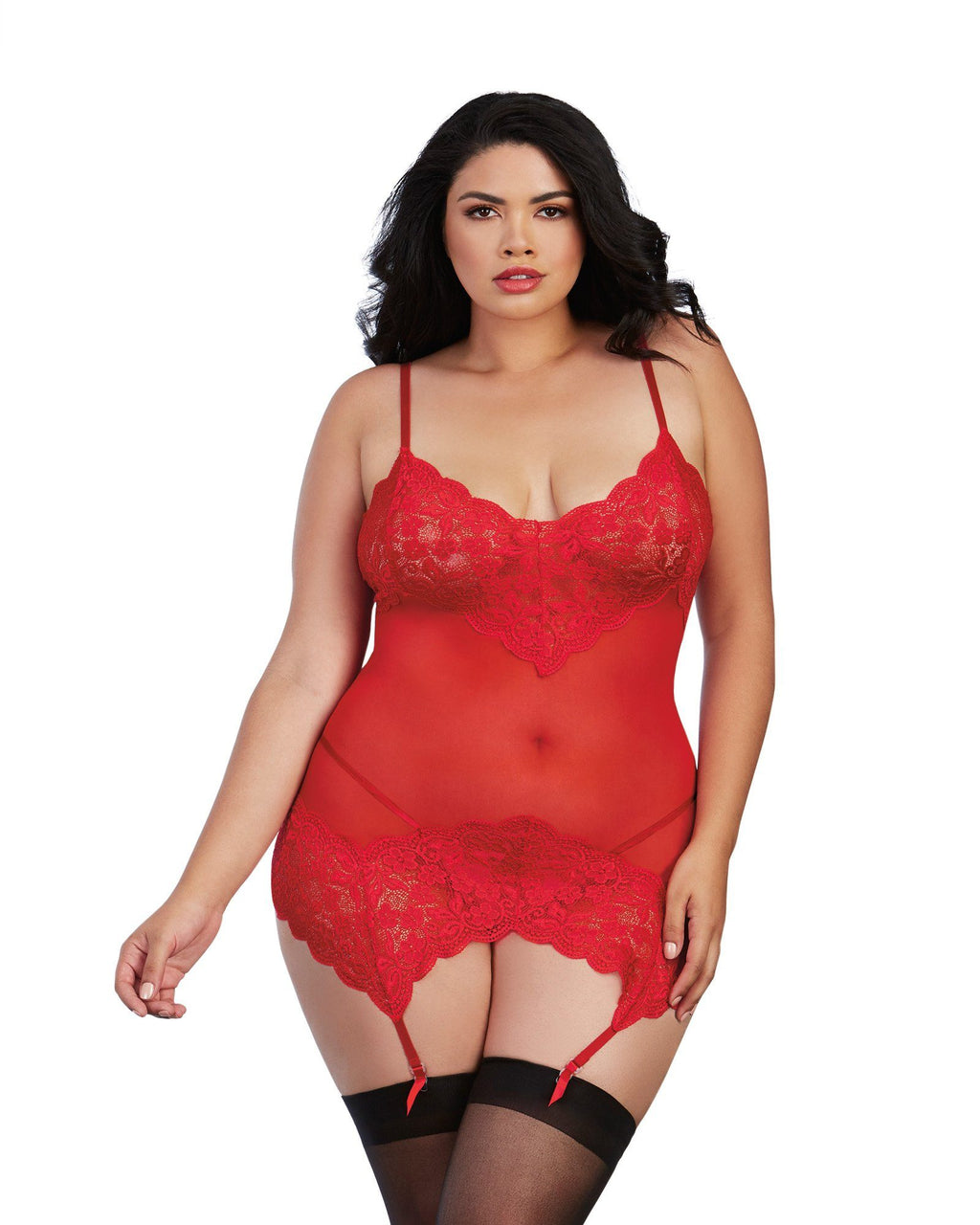 Plus Size Stretch Lace and Mesh Garter Slip with G-String Garter Slip Dreamgirl International