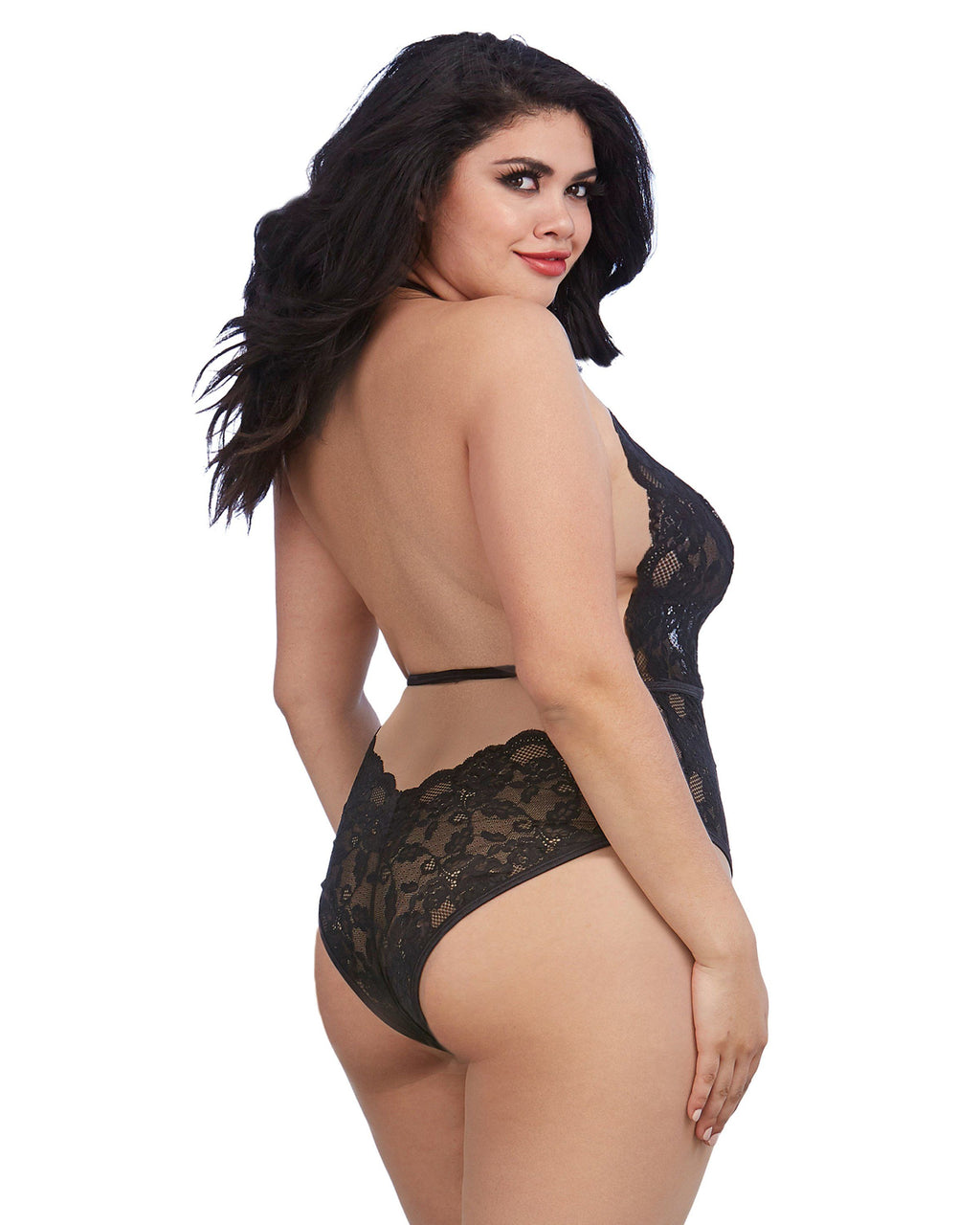 Plus Size Stretch Lace and Patterned Mesh Teddy with Plunge Front Teddy Dreamgirl International