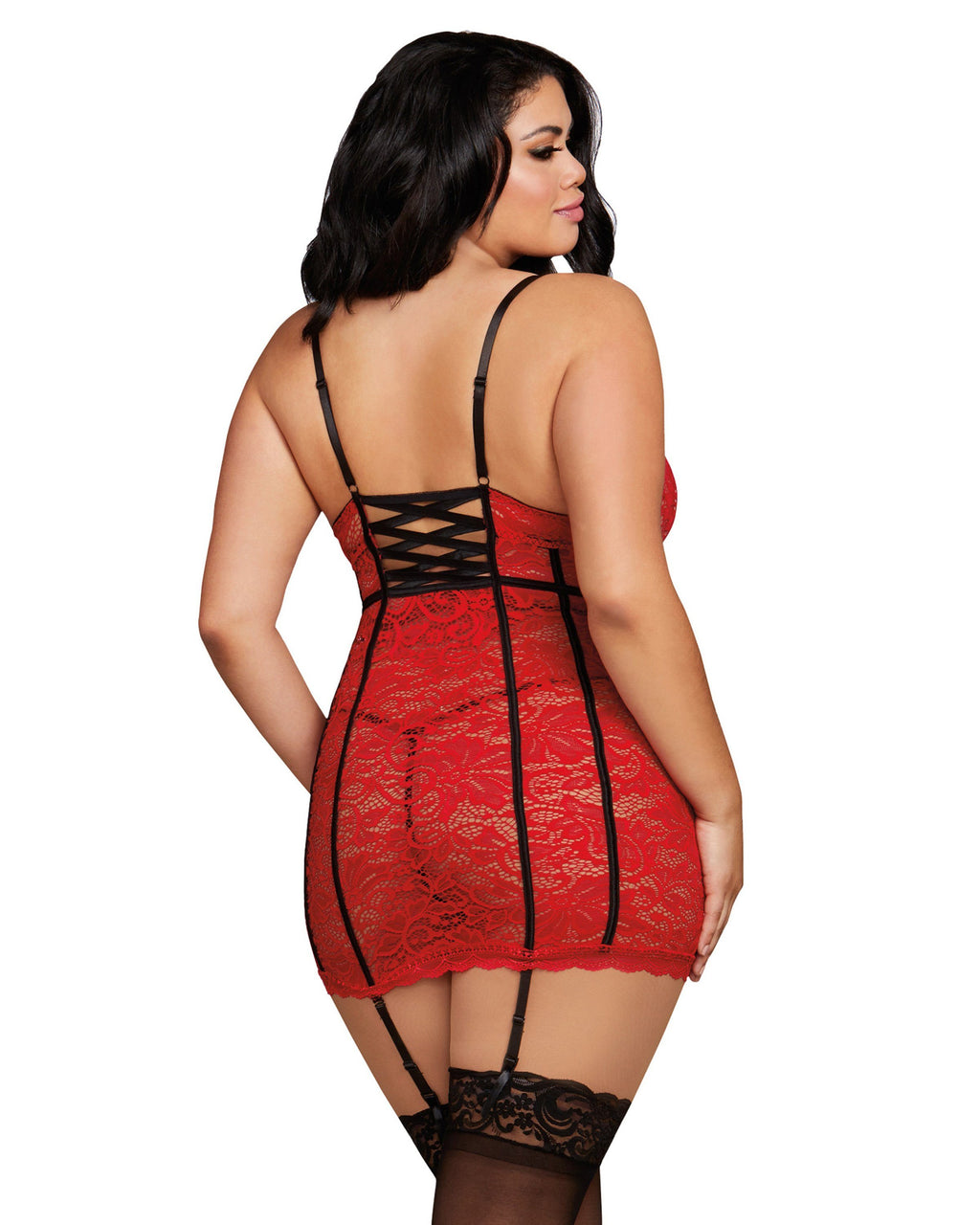 Plus Size Stretch Lace Underwire Garter Slip with G-String Garter Slip Dreamgirl International