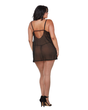 Plus Size Stretch Mesh Chemise & Robe Set Robe Set Dreamgirl International