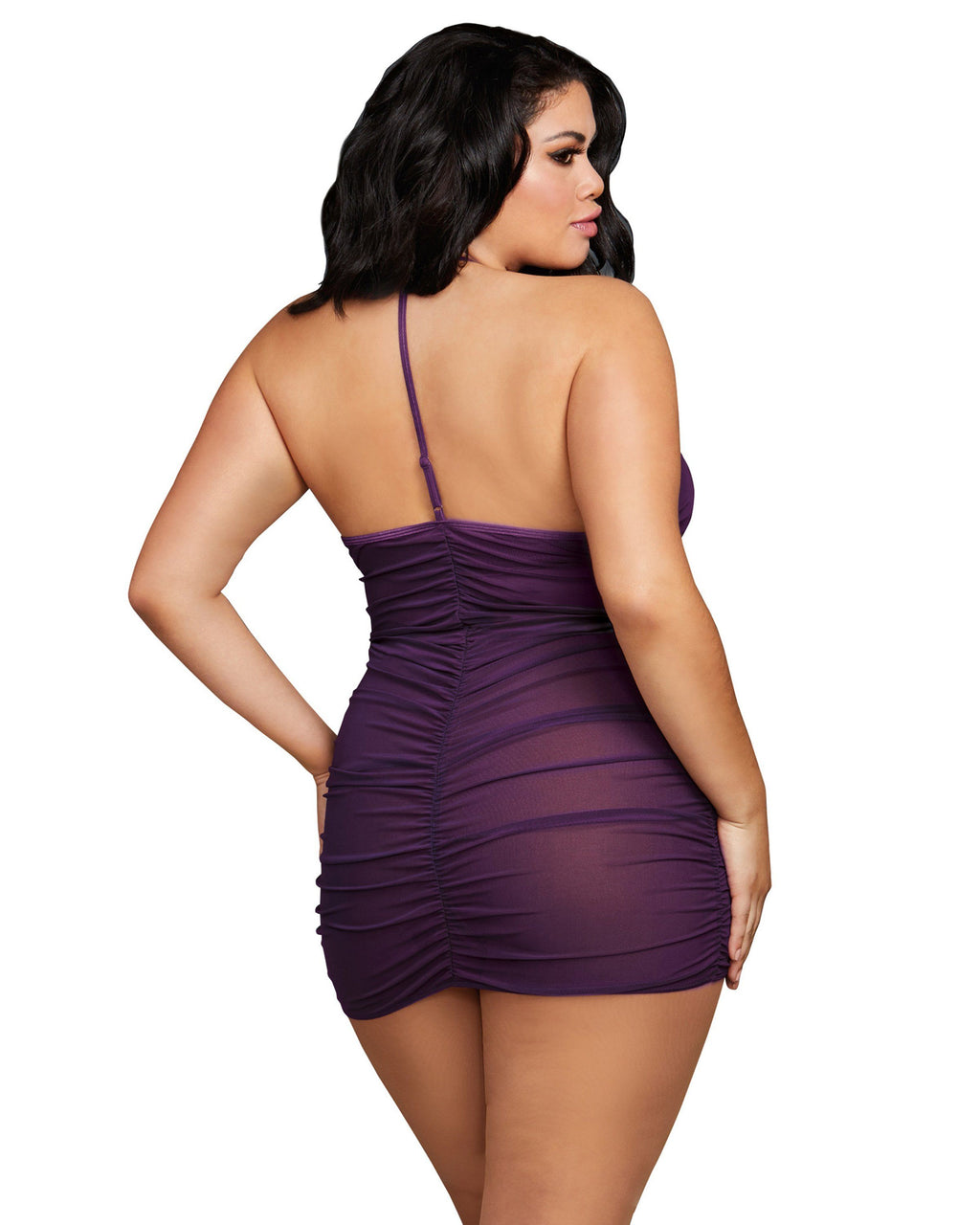 Plus Size Stretch Mesh Chemise with Shirring Details Chemise Dreamgirl International