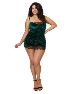 Plus Size Stretch Velvet Chemise With Front Shirring Details Chemise Dreamgirl International