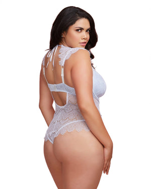 Plus Size Teddy with Contrast Lace Overlay Teddy Dreamgirl International