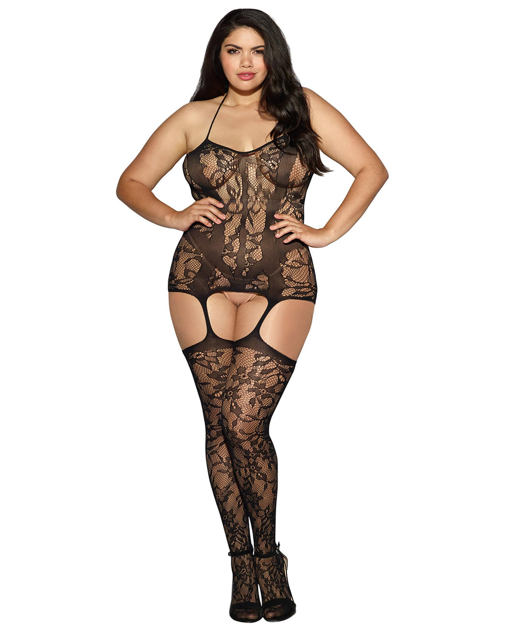Plus Size Triniad Gartered Bodystocking Bodystocking Dreamgirl International