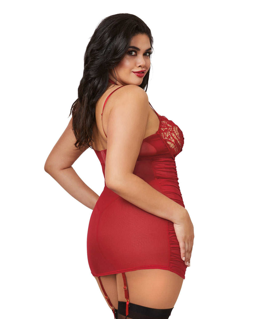 Plus Size Underwire Venice Lace Garter Slip With Ruched Sides Garter Slip Dreamgirl International