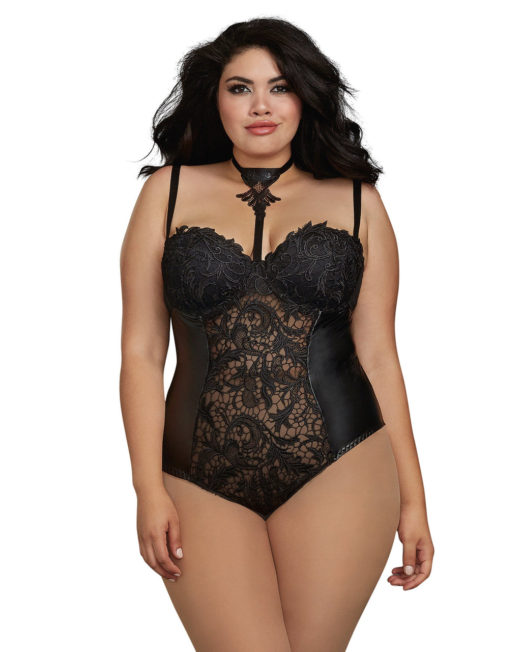 Plus Size Venice Lace and Faux Leather Collared Teddy Teddy Dreamgirl International
