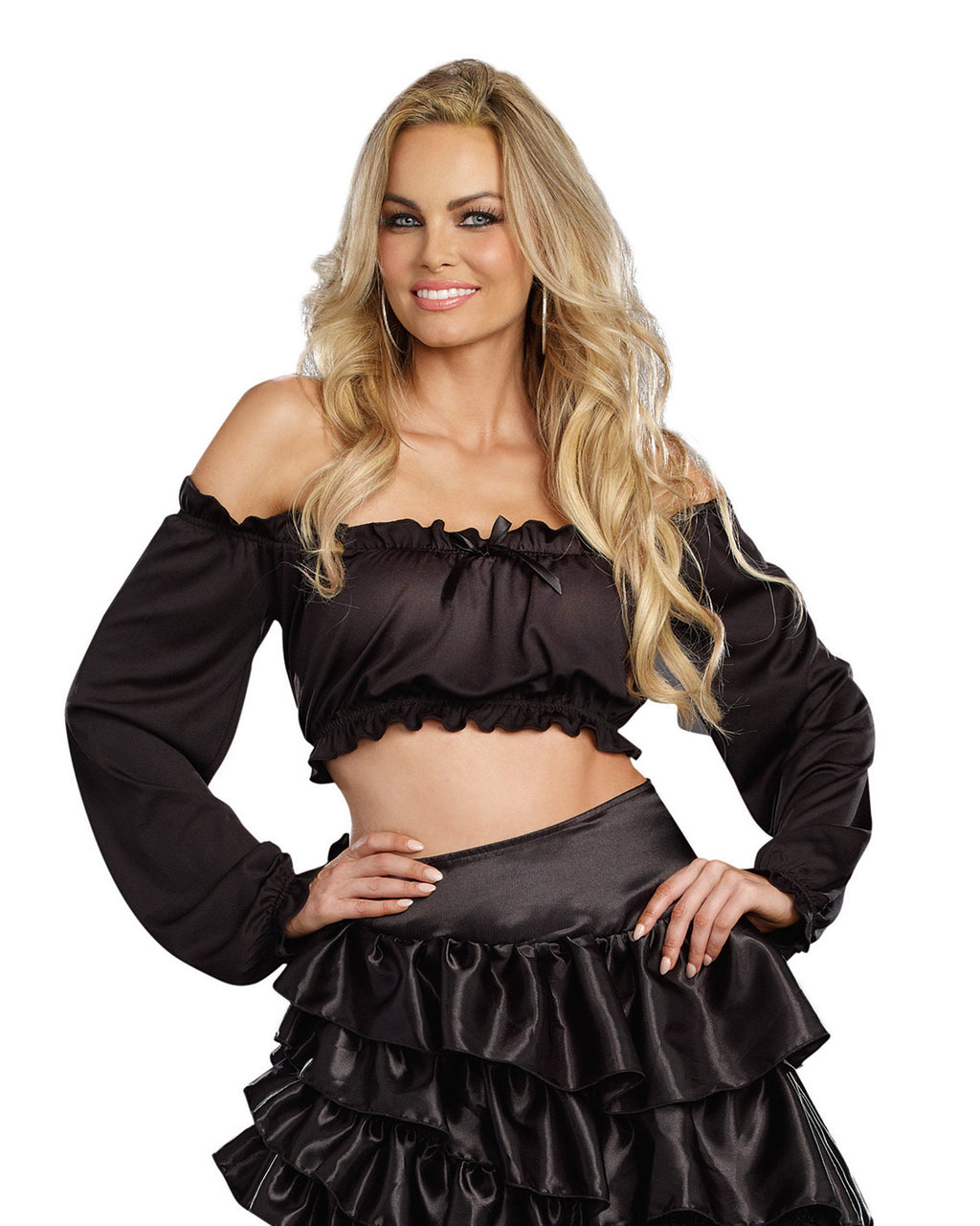 Pretty N' Peasant Top Costume Accessory Dreamgirl Costume S/M Black