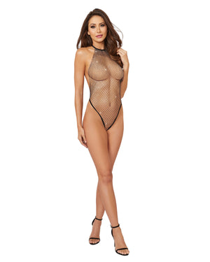 Rhinestone Netting Halter Teddy With Criss-Cross Thong Back Teddy Dreamgirl International