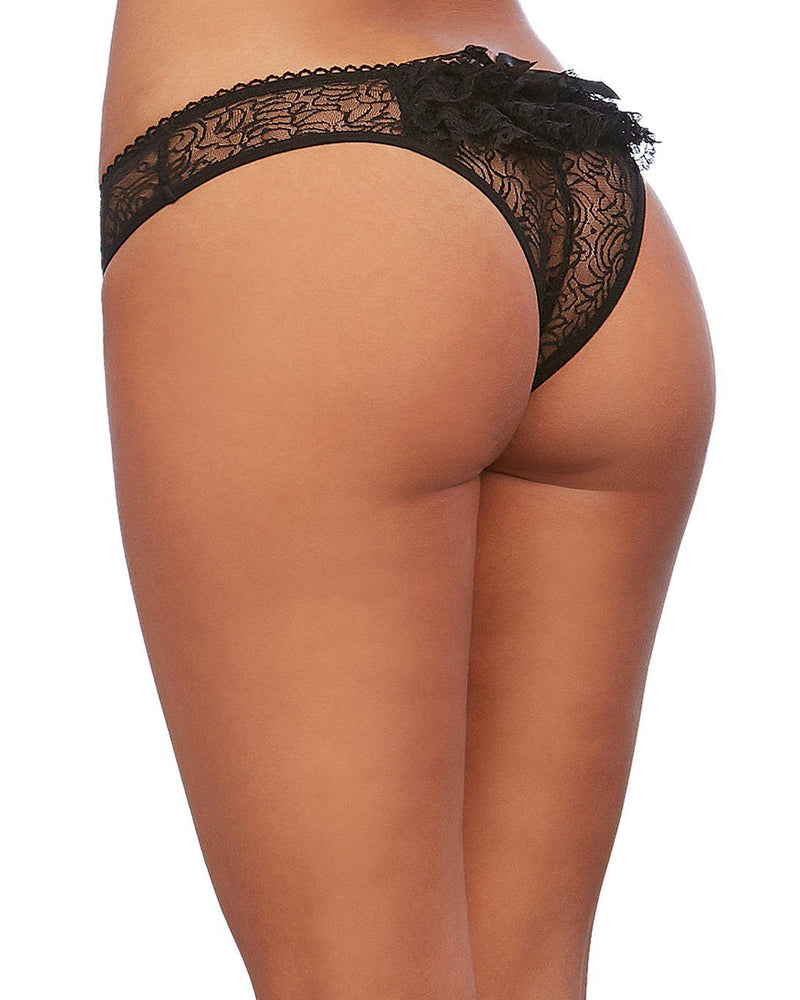 Ruffle Back Crotchless Panty Panty Dreamgirl International S Black