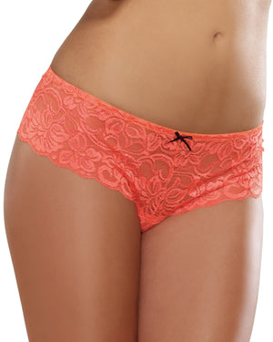 Satin Bow Crotchless Boyshort Panty Dreamgirl International S Coral