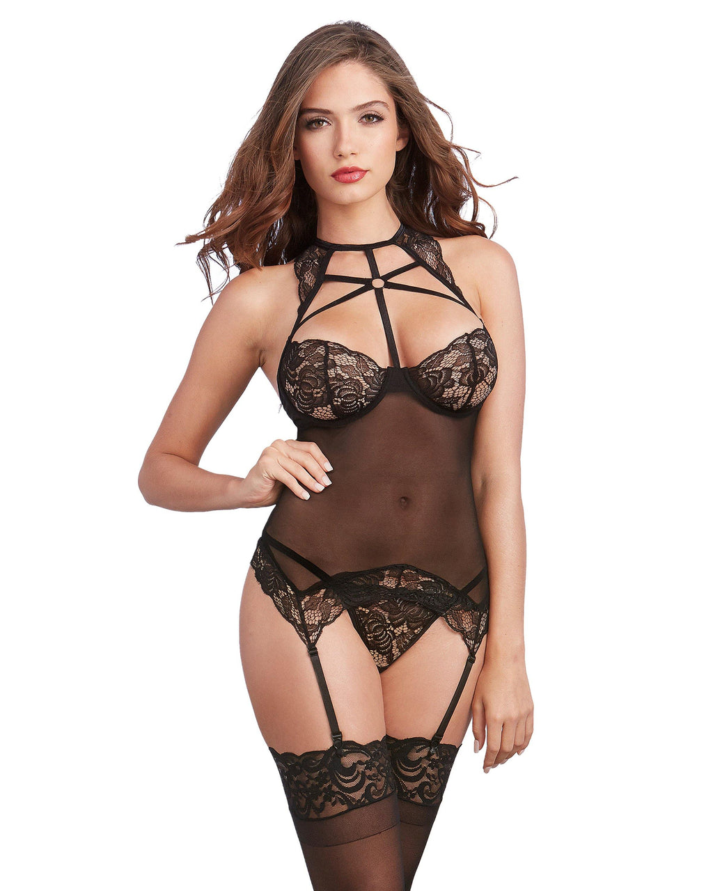 Scalloped Bustier-Styled Strappy Lingerie Set Bustier Dreamgirl International