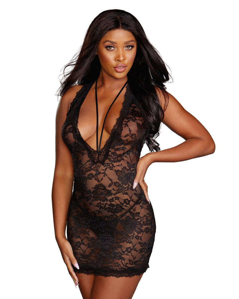Scalloped Plunging Stretch Lace Chemise Chemise Dreamgirl International