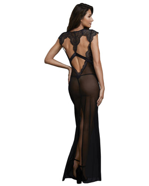 Sheer Mesh and Scalloped Lace Full Length Gown with G-String Gown Dreamgirl International