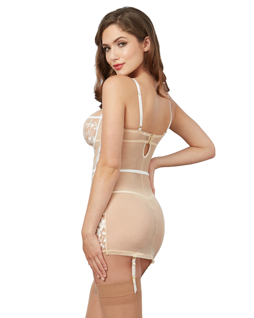 Sheer Nude Stretch Mesh Garter Slip with White Embroidery Garter Slip Dreamgirl International