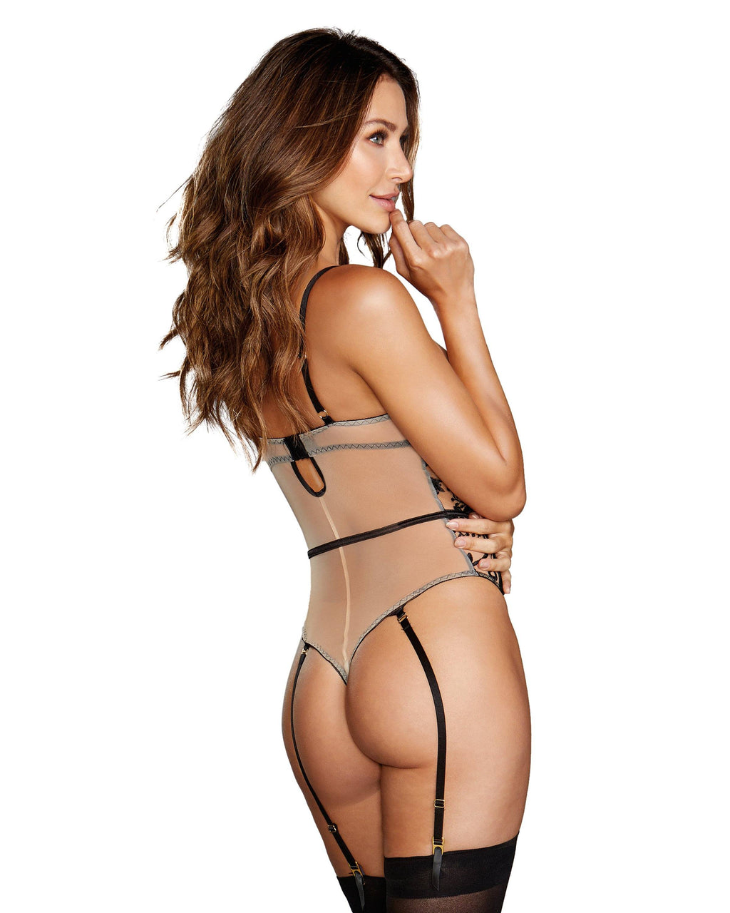 Sheer Nude Stretch Mesh Teddy with Contrasting Embroidery Teddy Dreamgirl International