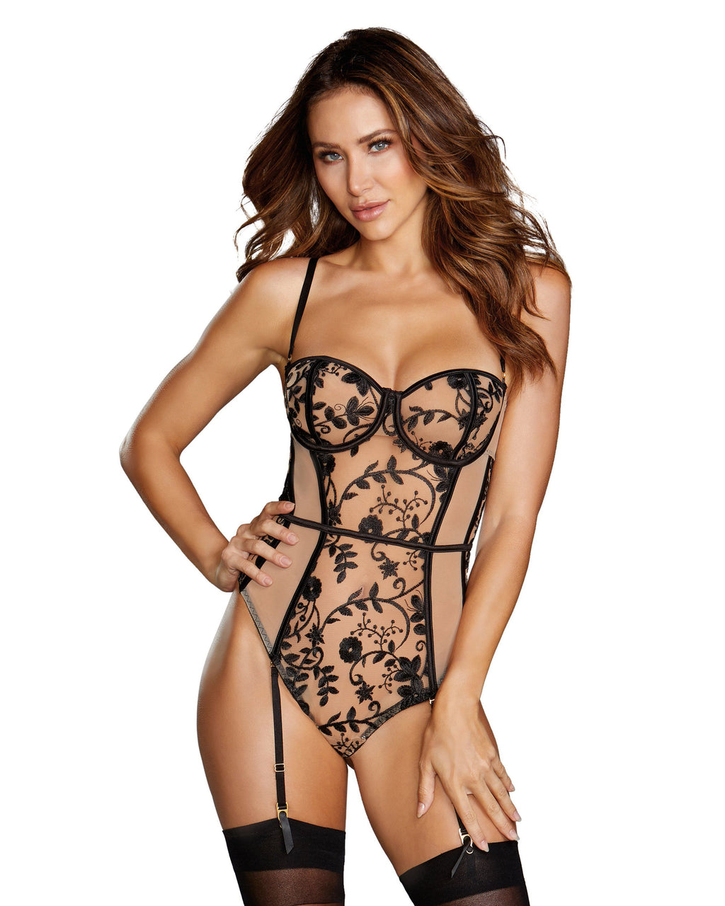 Sheer Nude Stretch Mesh Teddy with Contrasting Embroidery Teddy Dreamgirl International S Nude / Black