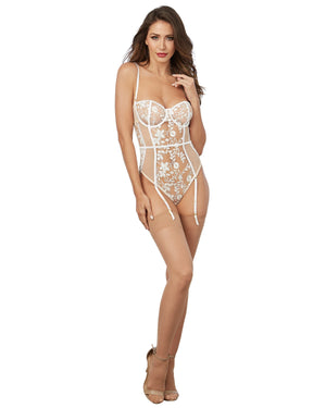 Sheer Nude Stretch Mesh Teddy with White Embroidery Teddy Dreamgirl International