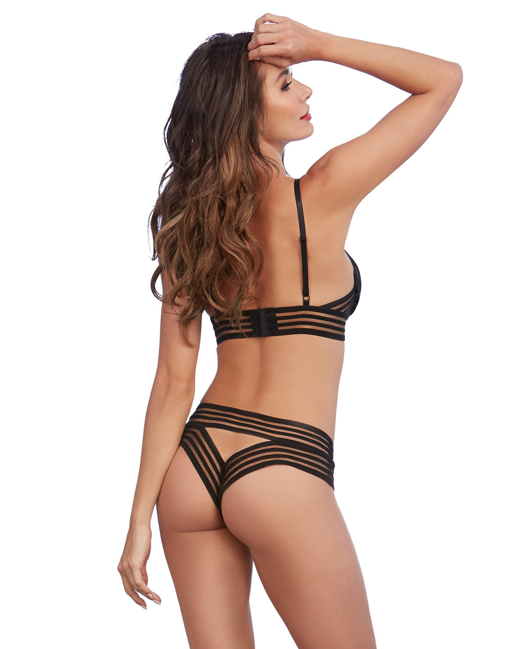 Sheer Stripped Elastic Underwire Bra and Matching Open-Back Panty Bra Set Dreamgirl International