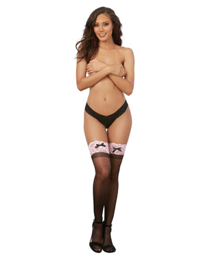 Sheer Thigh High Stockings with Contrast Lace Thigh Highs Dreamgirl International