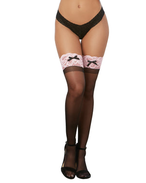 Sheer Thigh High Stockings with Contrast Lace Thigh Highs Dreamgirl International One Size Black / Pink