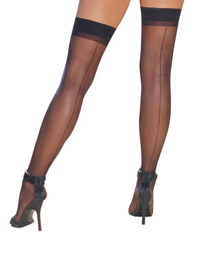 Sheer Thigh Highs with Back Seam Thigh Highs Dreamgirl International One Size Black