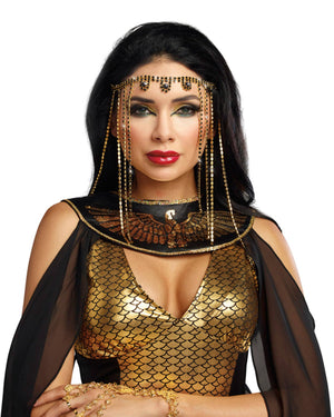 Shimmering Rhinestone Headpiece Headpiece Dreamgirl Costume One Size Gold/Black