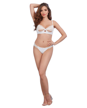Silky Microfiber Underwire Shelf Bra and G-String Set Bra Set Dreamgirl International