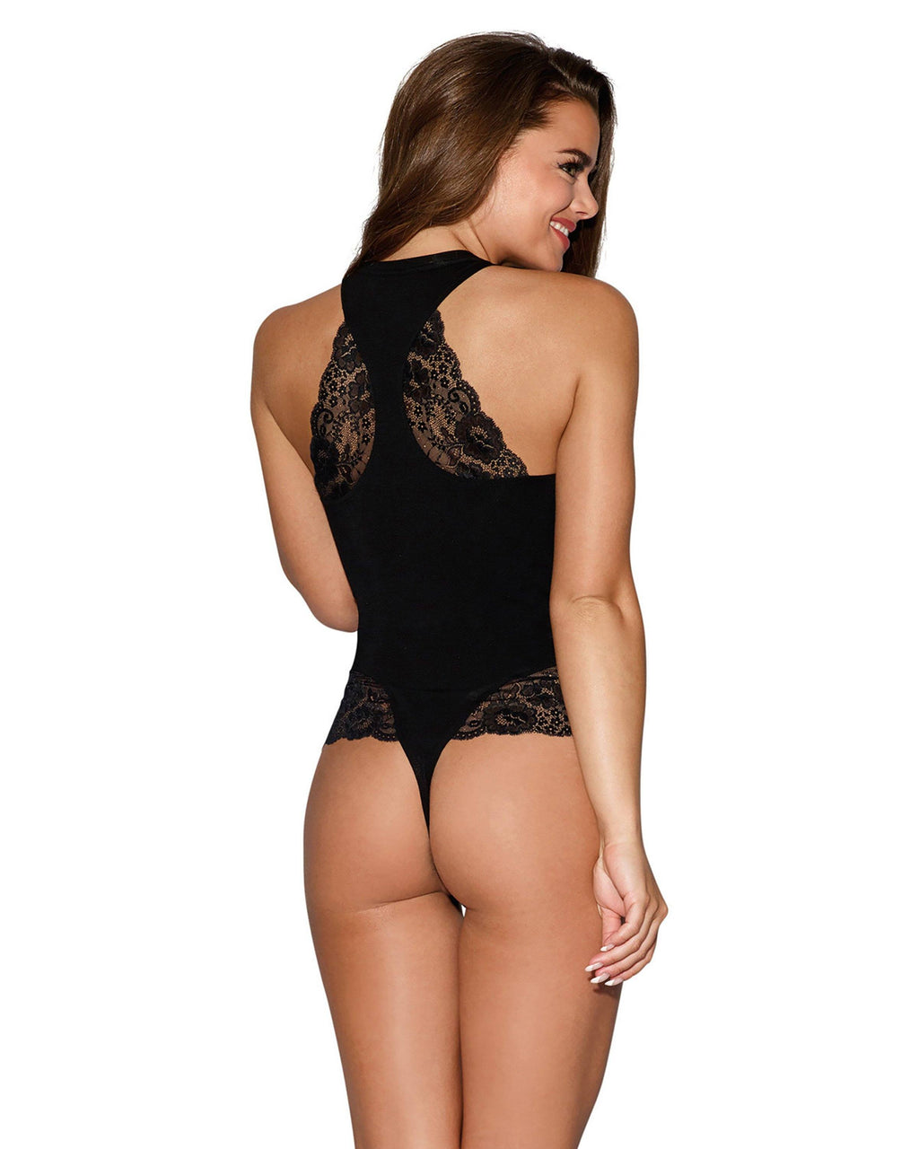 Soft Jersey Lace Trim Bodysuit Bodysuit Dreamgirl International