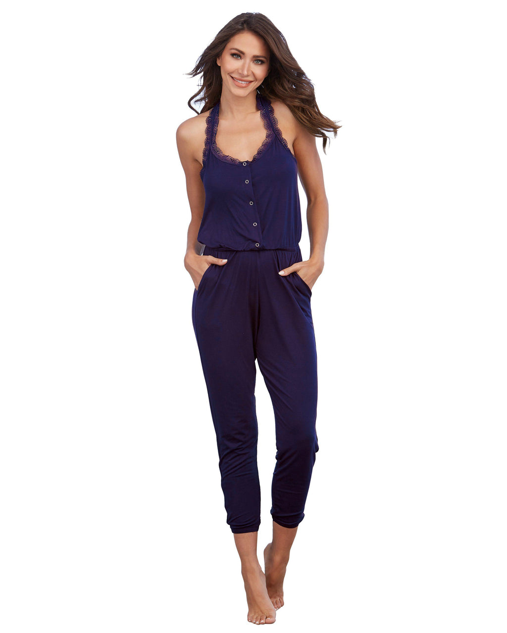 Soft Knit Jersey Sleepwear Jumpsuit with Lace T-Back Sleepwear Jumpsuit Dreamgirl International