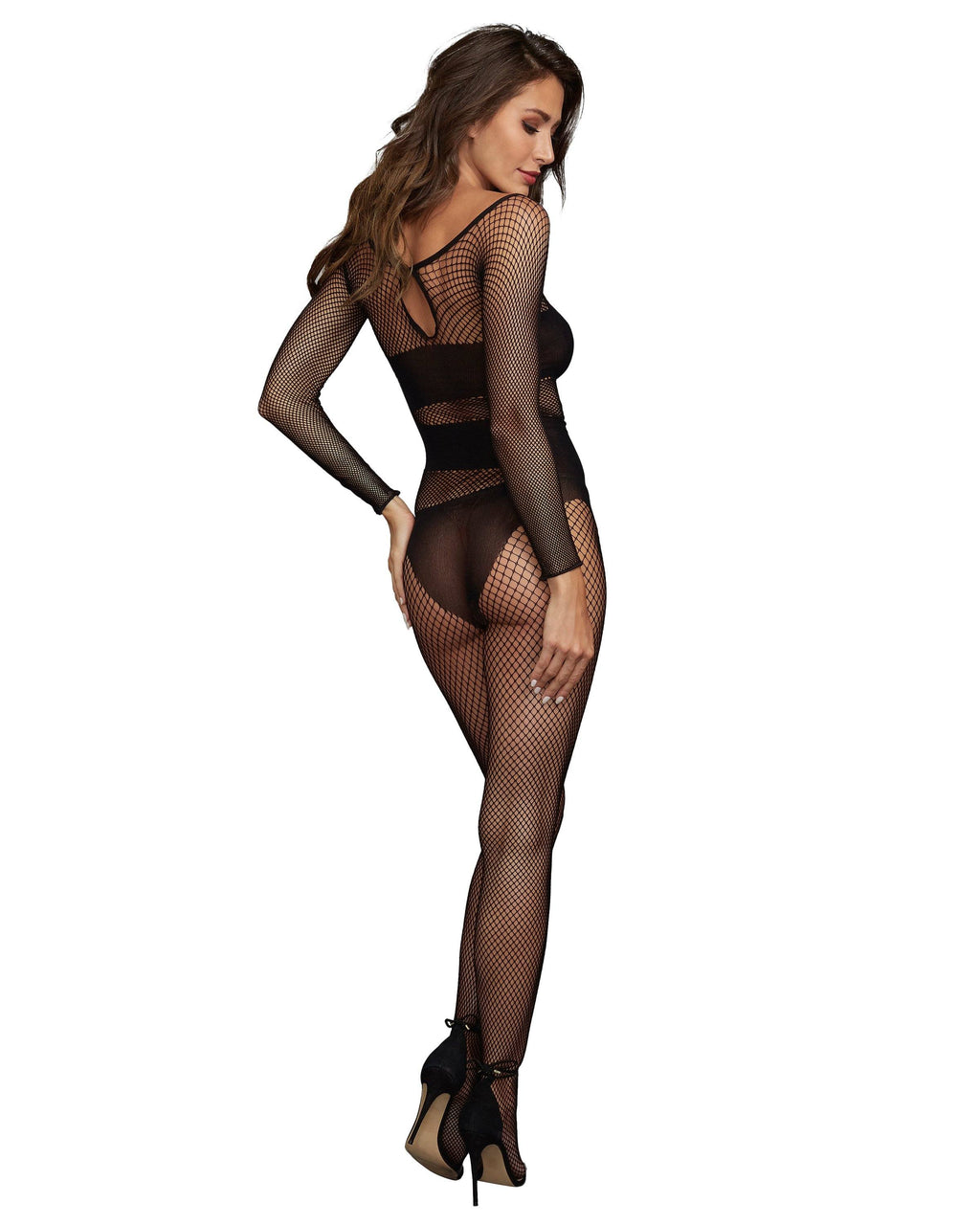 Stretch Fishnet Long-Sleeved Bodystocking with Opaque Knit Detailing Bodystocking Dreamgirl International