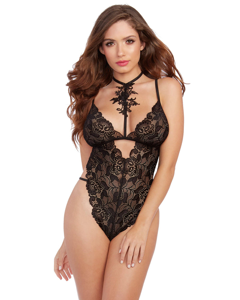 Stretch Galloon Lace Choker Teddy with Venise Neckline Teddy Dreamgirl International One Size Black