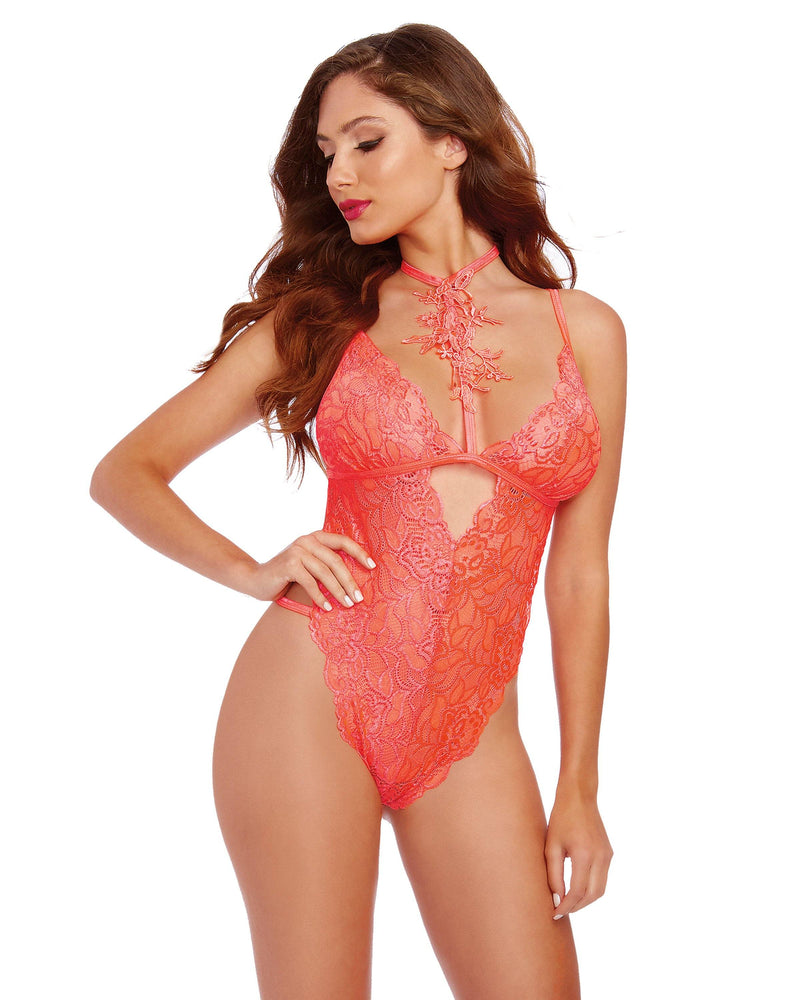 Stretch Galloon Lace Choker Teddy with Venise Neckline Teddy Dreamgirl International One Size Coral