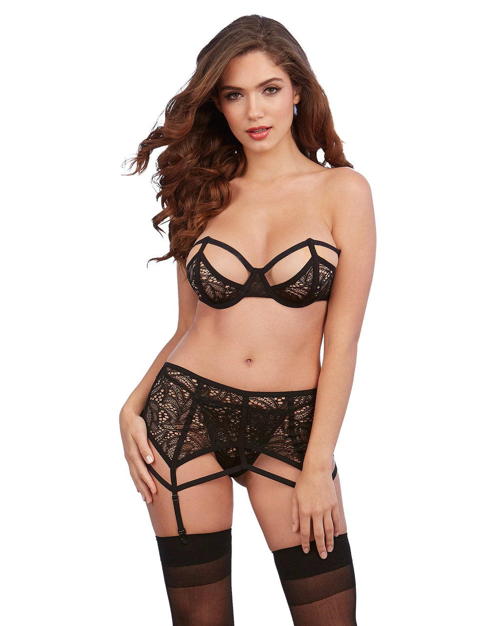 Stretch Lace 3-Piece Garter Set with Architectural Detailing Bra Set Dreamgirl International