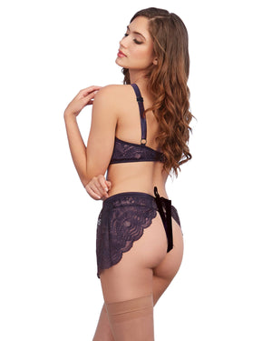 Stretch Lace 3-Piece Lingerie Set with Criss-Cross Elastic Neckline Bra Set Dreamgirl International
