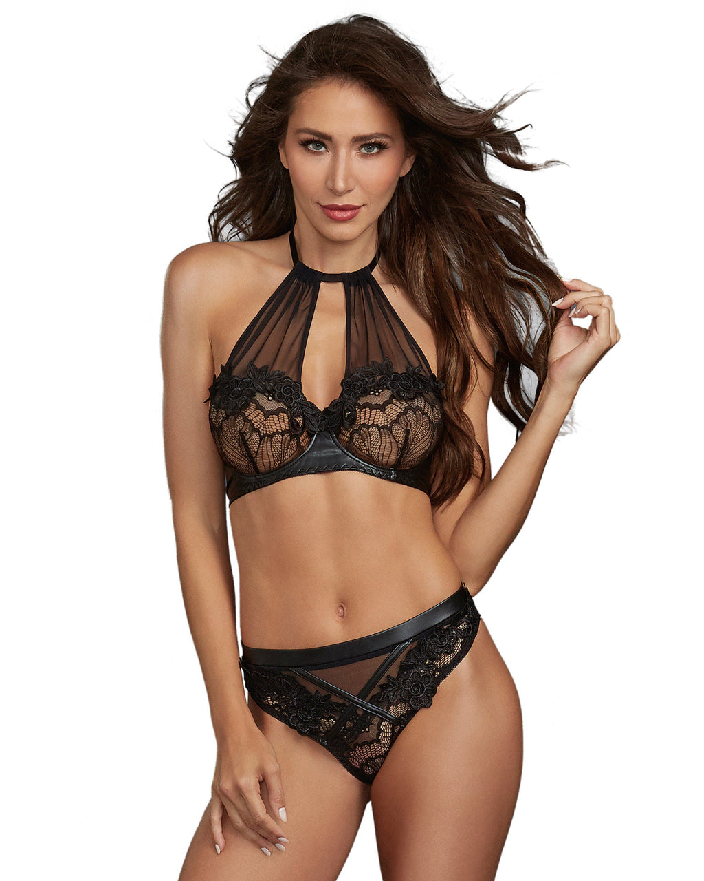Stretch Lace and Sheer Mesh High Neck Underwire Bralette with Matching Thong Bralette Set Dreamgirl International