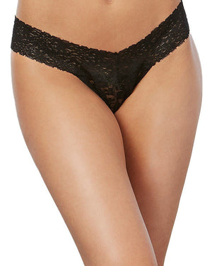 Stretch Lace Low-Rise Thong Panty Dreamgirl International One Size Black