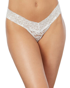 Stretch Lace Low-Rise Thong Panty Dreamgirl International One Size White