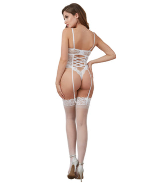 Stretch Lace Teddy featuring a Bridal Belt with a Long Tulle Train Teddy Dreamgirl International