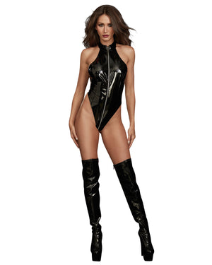 Stretch Latex High Neck Teddy with Zipper Detail Playset Fetish Dreamgirl International