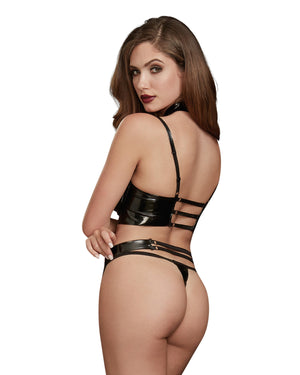 Stretch Latex Underwire Shelf Bra, Garter Belt and Thong Playset Fetish Dreamgirl International