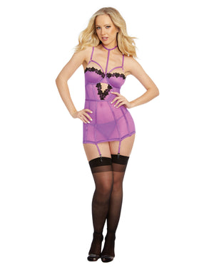 Stretch Mesh & Venise Lace Garter Slip Garter Slip Dreamgirl International
