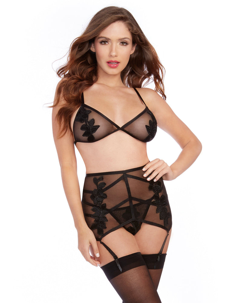 Three Piece Stretch Mesh Bralette and Garter Belt Set Bralette Set Dreamgirl International
