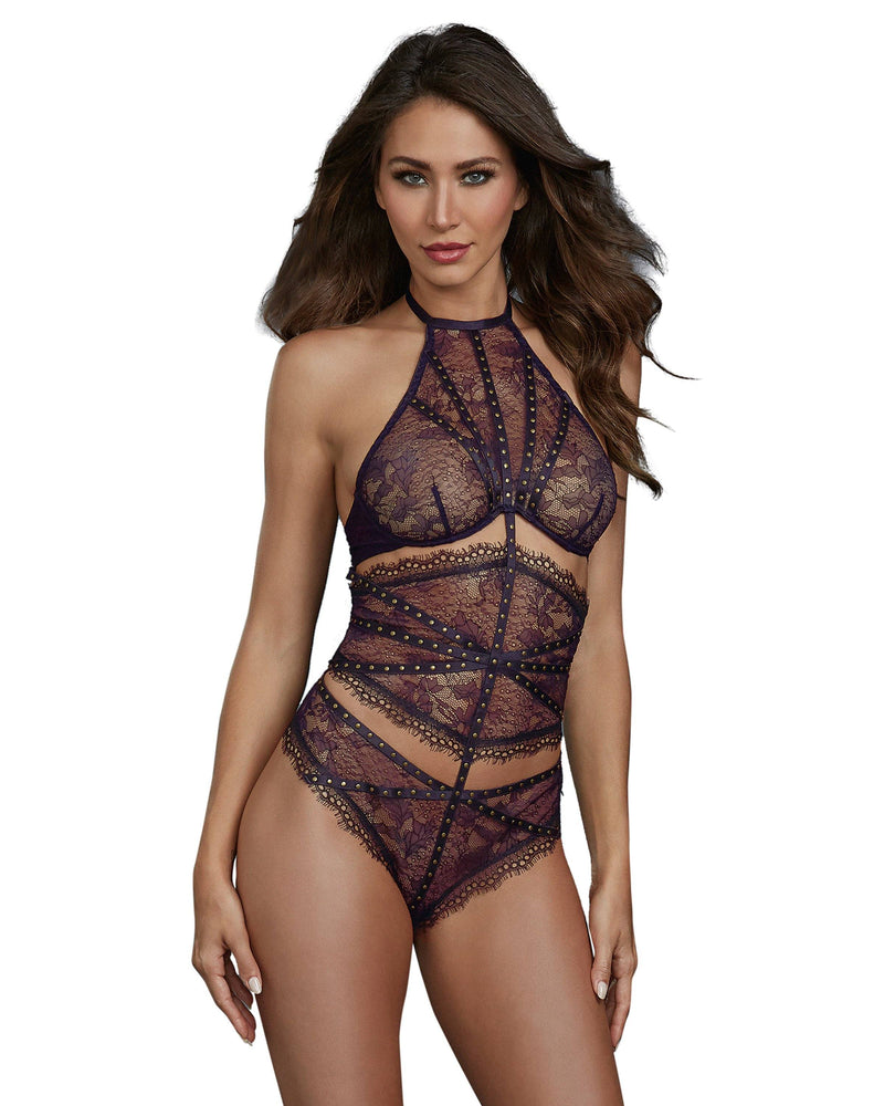 Unique 3-Piece-Look Lace Teddy with Eyelash Lace Trim Teddy Dreamgirl International