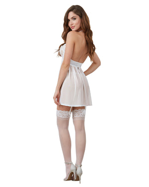 Venice Embroidery Lace Garter Babydoll and Thong Set Babydoll Dreamgirl International